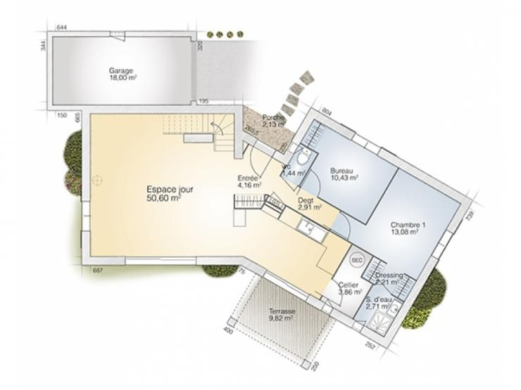 Plans de maison rdc du mod le diamant maison moderne for Plan maison suite parentale rdc