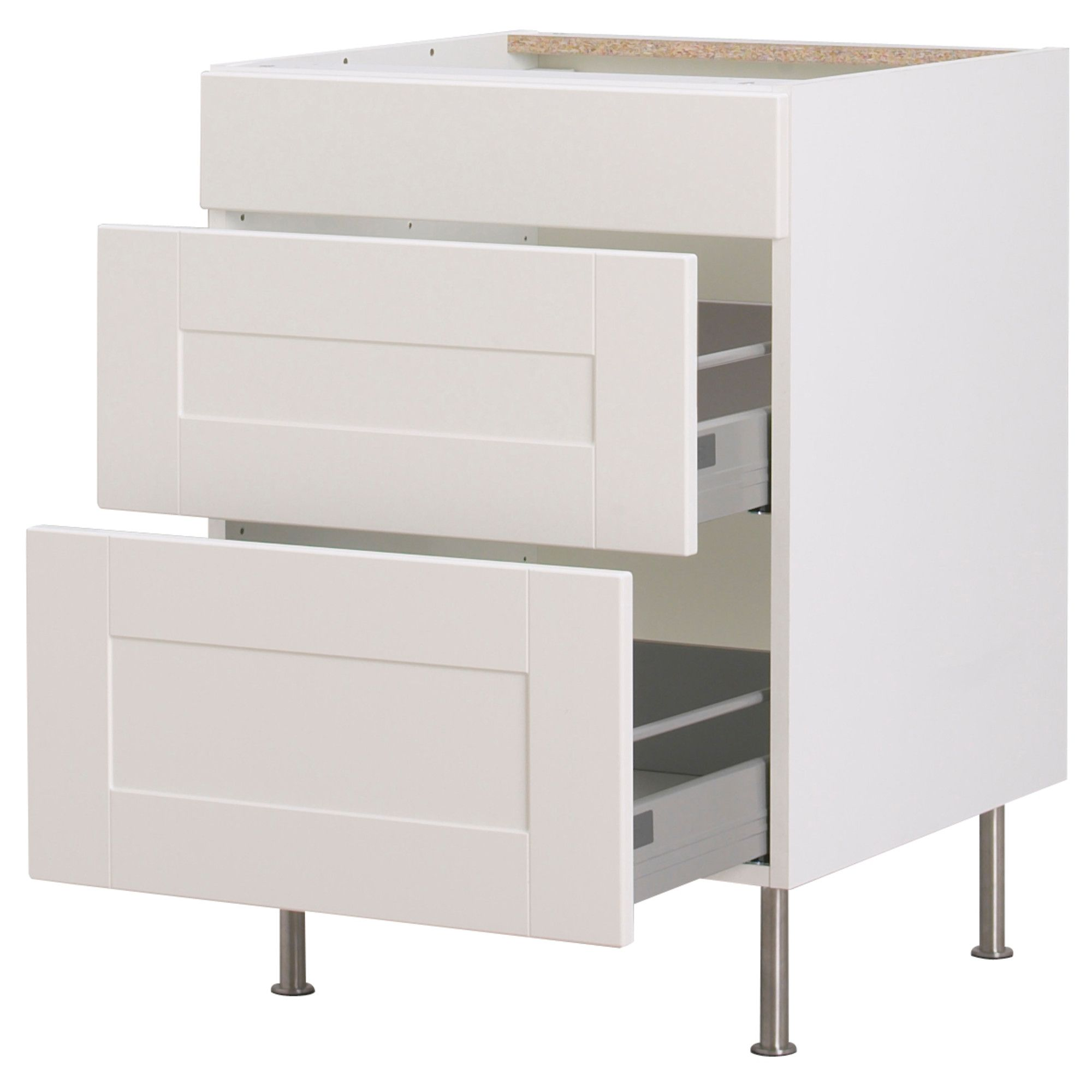 Kitchen Cabinets AKURUM Base Cabinet With 3 Drawers White Ädel