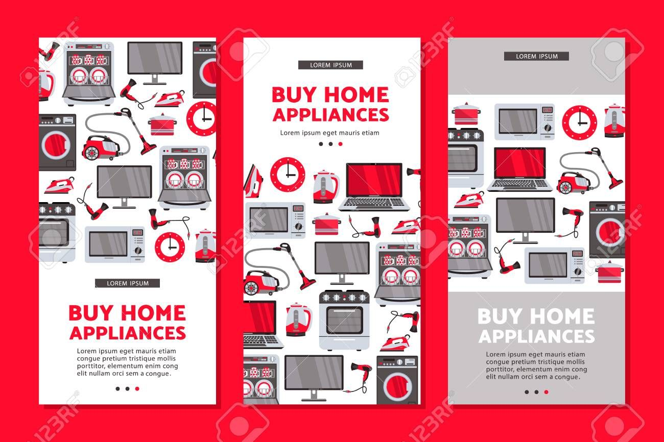 Vector Home Appliance Sale Poster Banner Set Tv Set Plasma Panel Laptop Microwave Oven Dishwasher Gas Stove Iron Electric Kettle And Vacuum Cleaner Wash