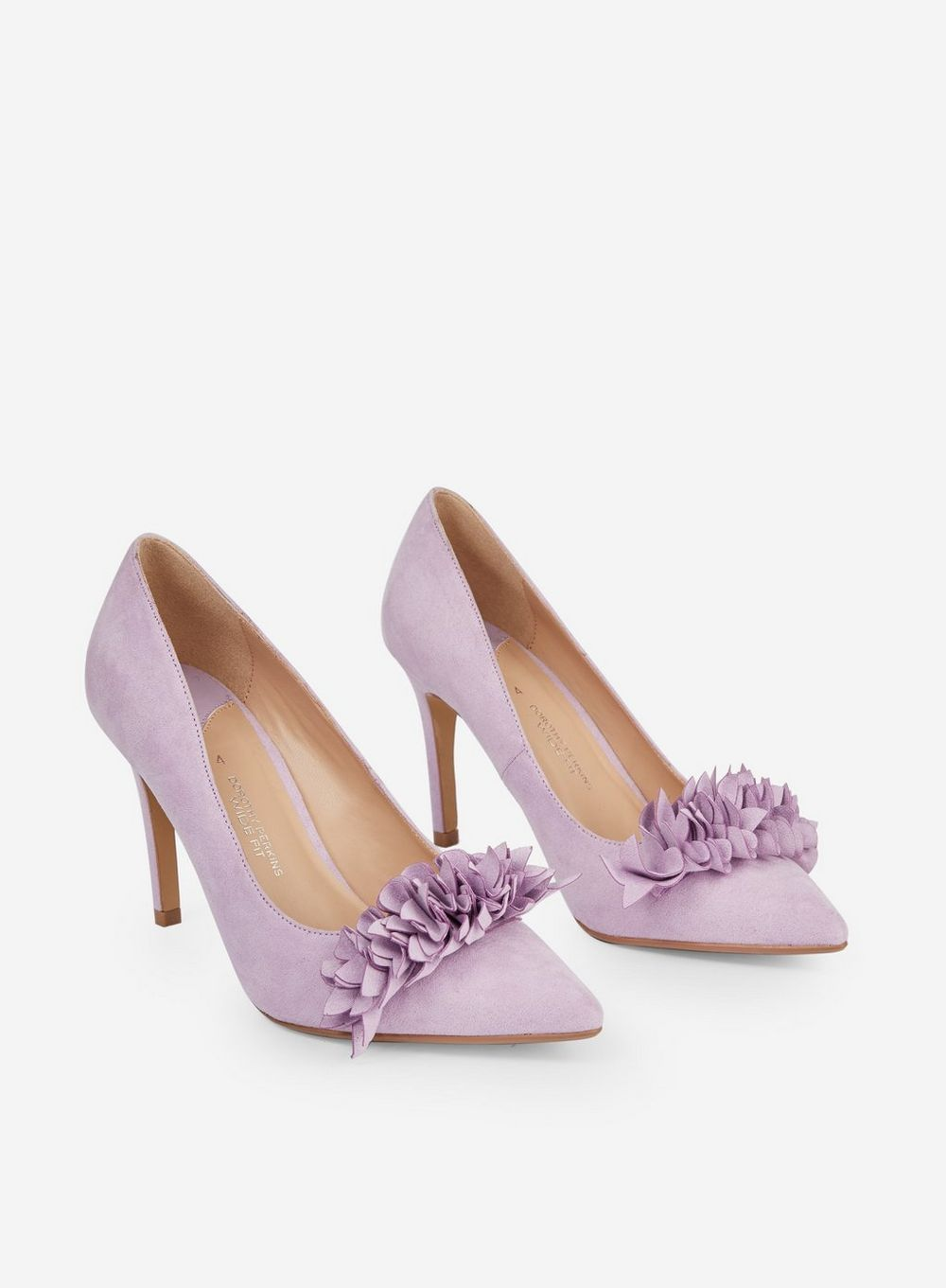 Wide Fit Lilac 'Daylily' Court Shoes