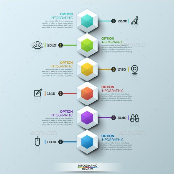 Six Multicolored Hexagons Timeline - Infographic Template