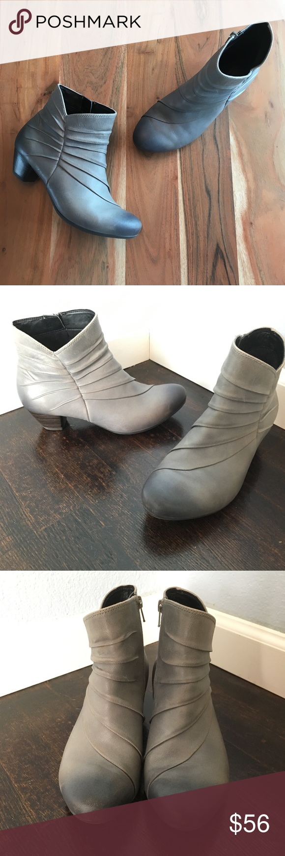 3919b105 Josef Seibel Ruched Leather Ankle Boots Grey leather. Women's size 38 (US  7-7.5). Heels show some wear. Overall great condition. Josef Seibel Shoes  Ankle ...
