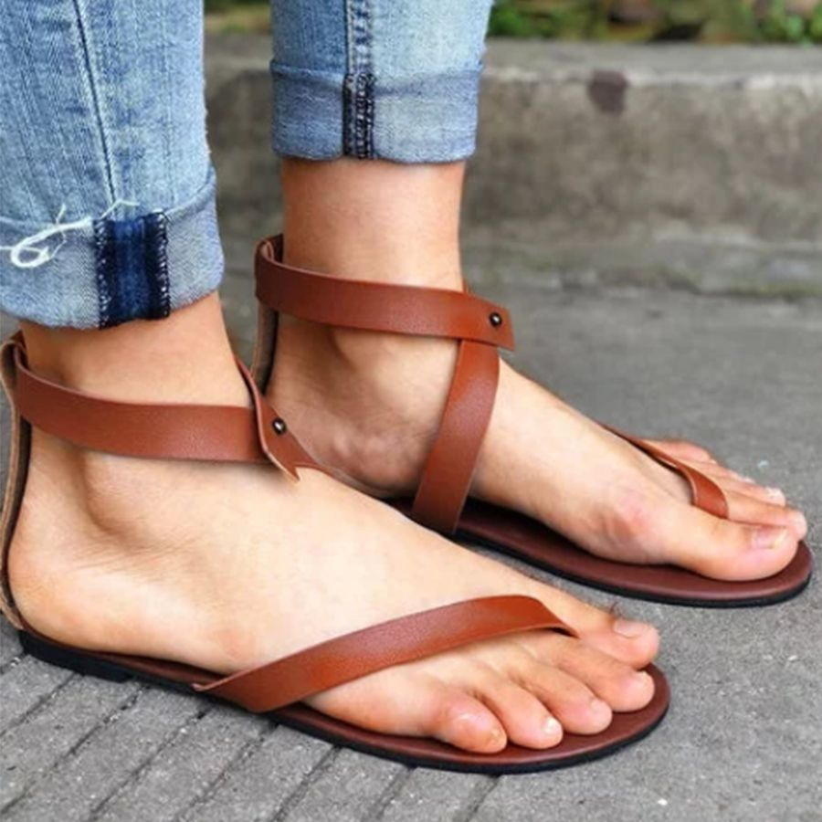 91dad3379 Plain Flat Ankle Strap Peep Toe Casual Gladiator Sandals – Bellalike ...