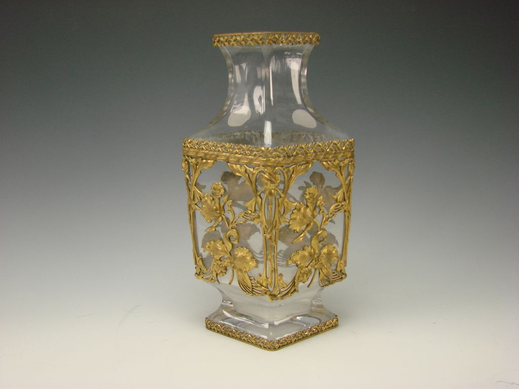 "12"" Antique Baccarat Bronze Art Nouveau Iris Caged Crystal Glass Vase"