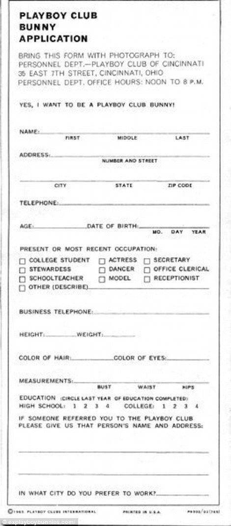 playboy application form
