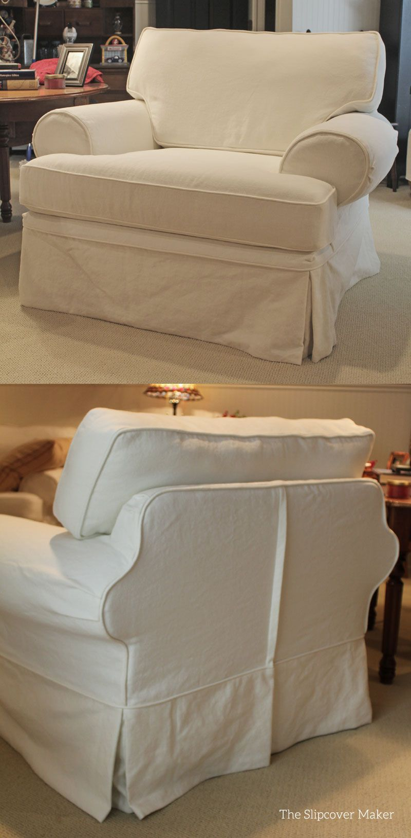 Slipcovers for big rolled arm chairs go on easier with a center