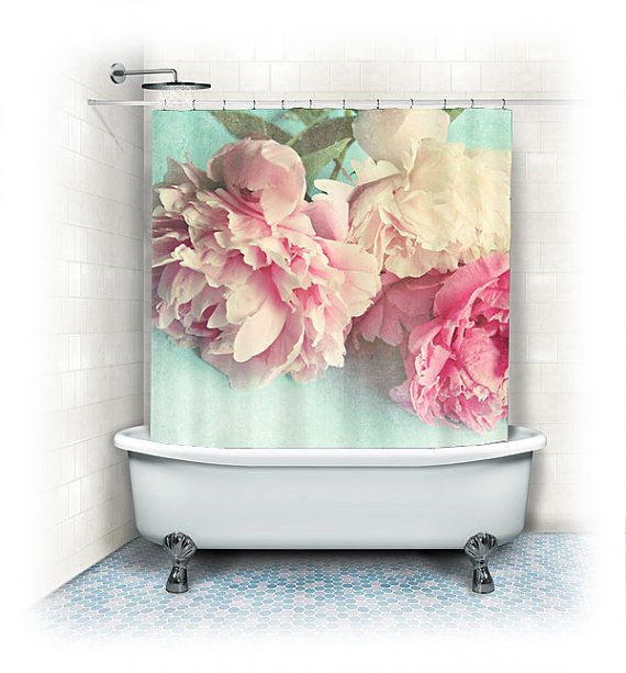 Peony Shower Curtain Like Yesterdayaqua Pink Bathroomhome Decor