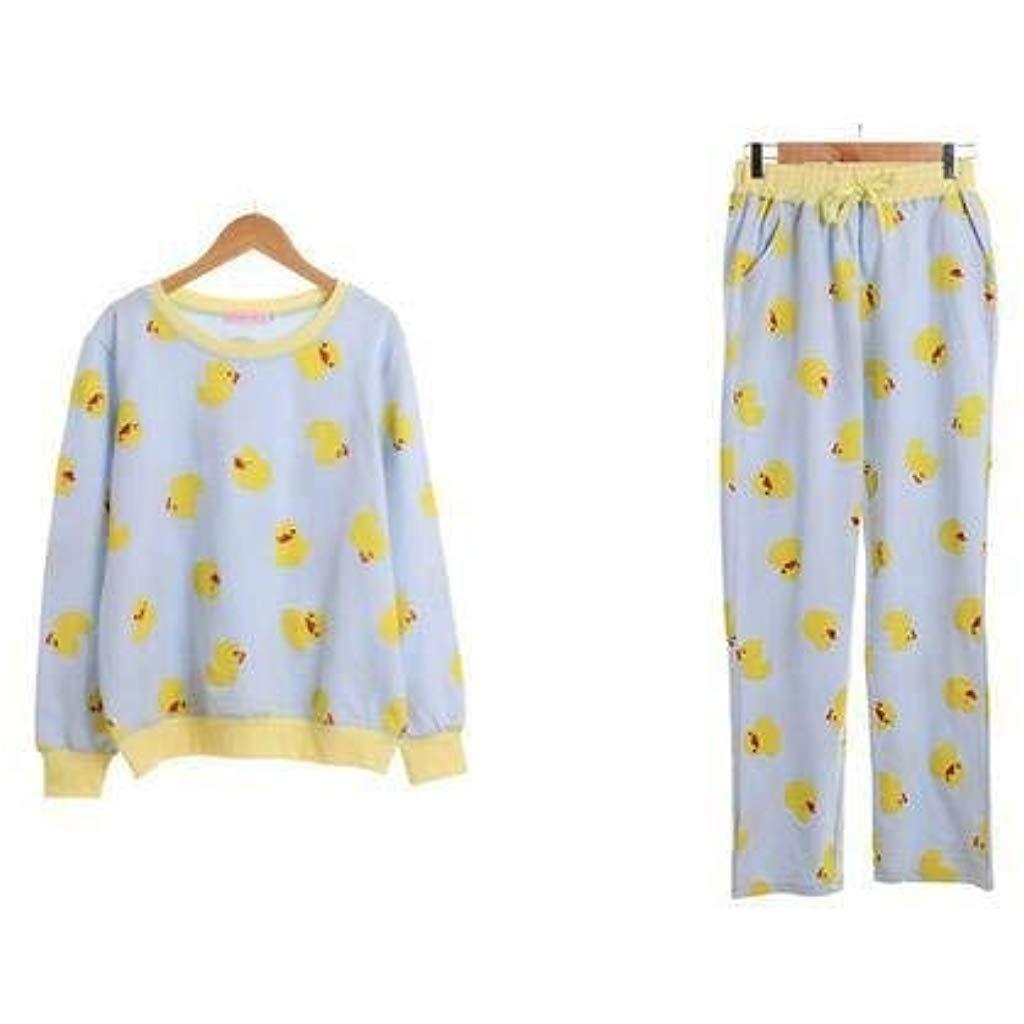 83b138910efa3 BoBoLily Automne Pur Coton Vêtements Femmes Canard Jaune Spécial Style  Dames Pyjama Imprimé À Manches Longues