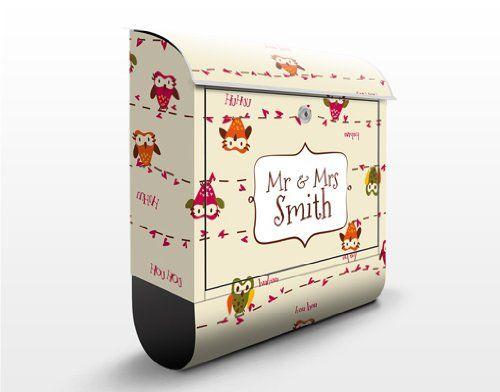 Design Briefkasten WunschText Owl Howl 39x46x13cm Briefkasten ...
