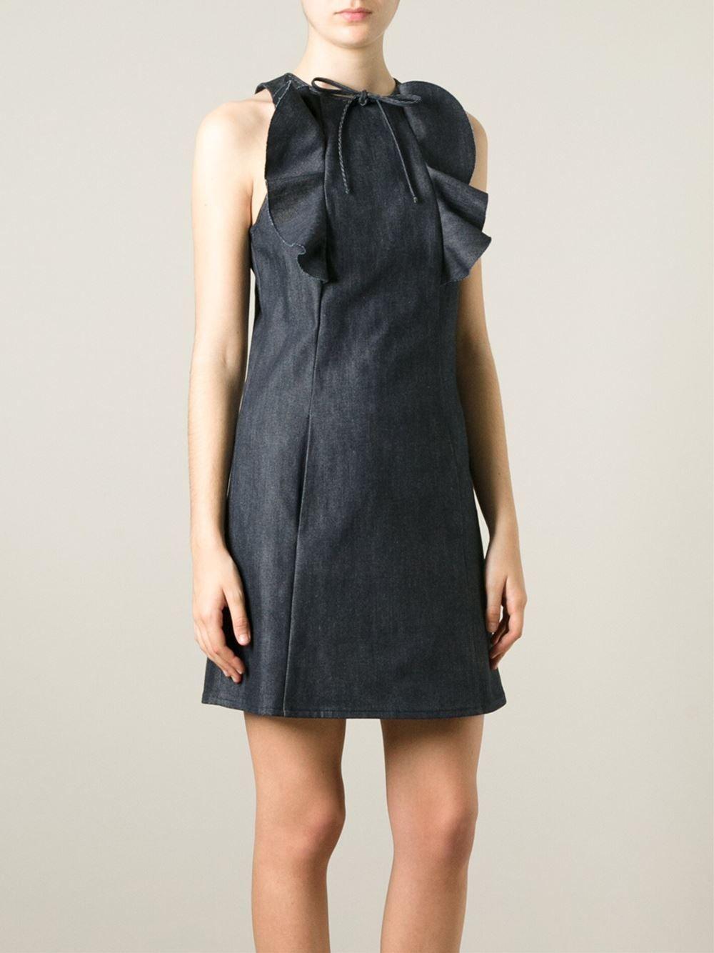 Giamba Ruffle Detail Denim Dress - Cumini - Farfetch.com