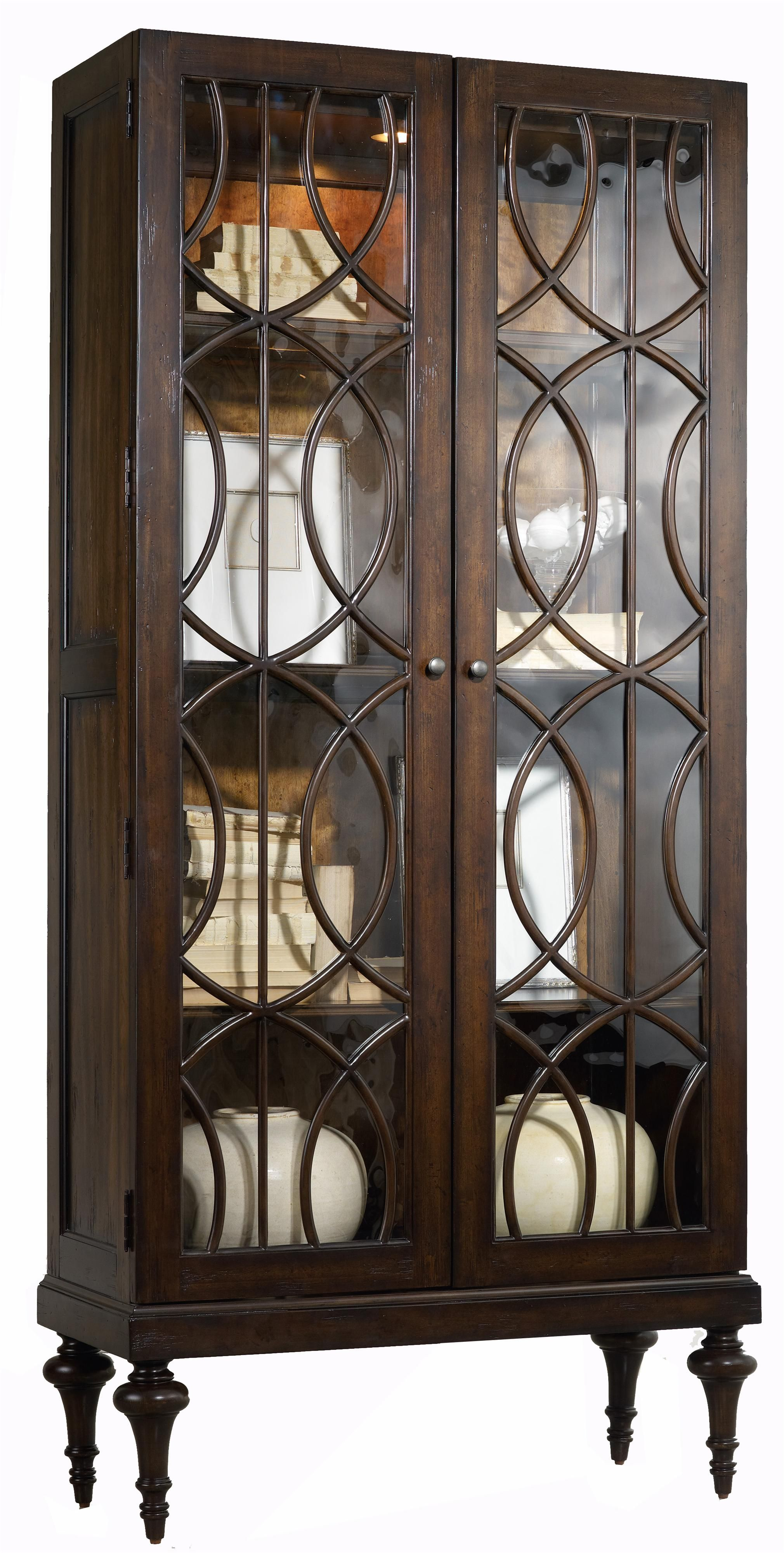 Mélange Adaira Display Cabinet with Concentric Circle Wood Trim by ...