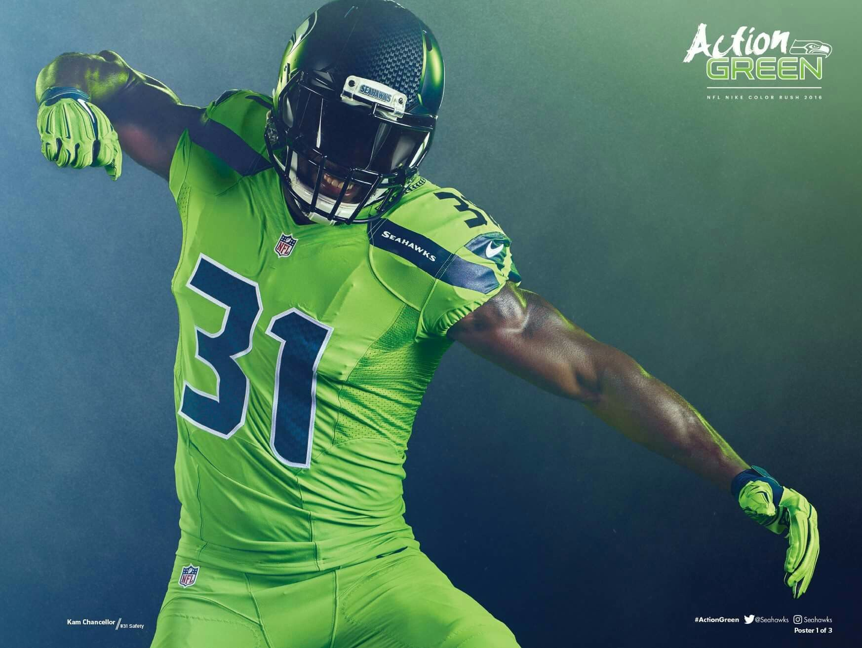Action Green (With images) Seahawks color rush, Seahawks