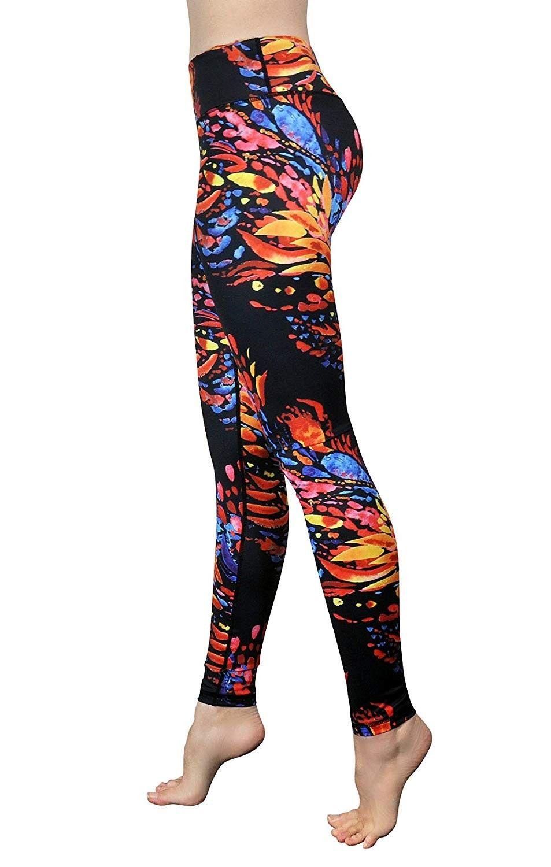 Pants - Printed Yoga Leggings - Women's Athletic Leggings - Sport Workout Leggings - Phoenix - CD18E...