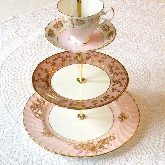 pretty cake stand, made from vintage bone china plates and tea cups