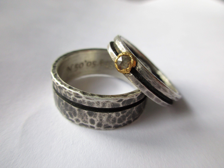 Ausgefallene Eheringe Handgearbeitet Trauringe Geschmiedet Silber Gold Rosenschliff Diamant Farbig Weiß Schmal Breit Set Hammerschlag Rings For Men Jewelry Fashion Jewelry