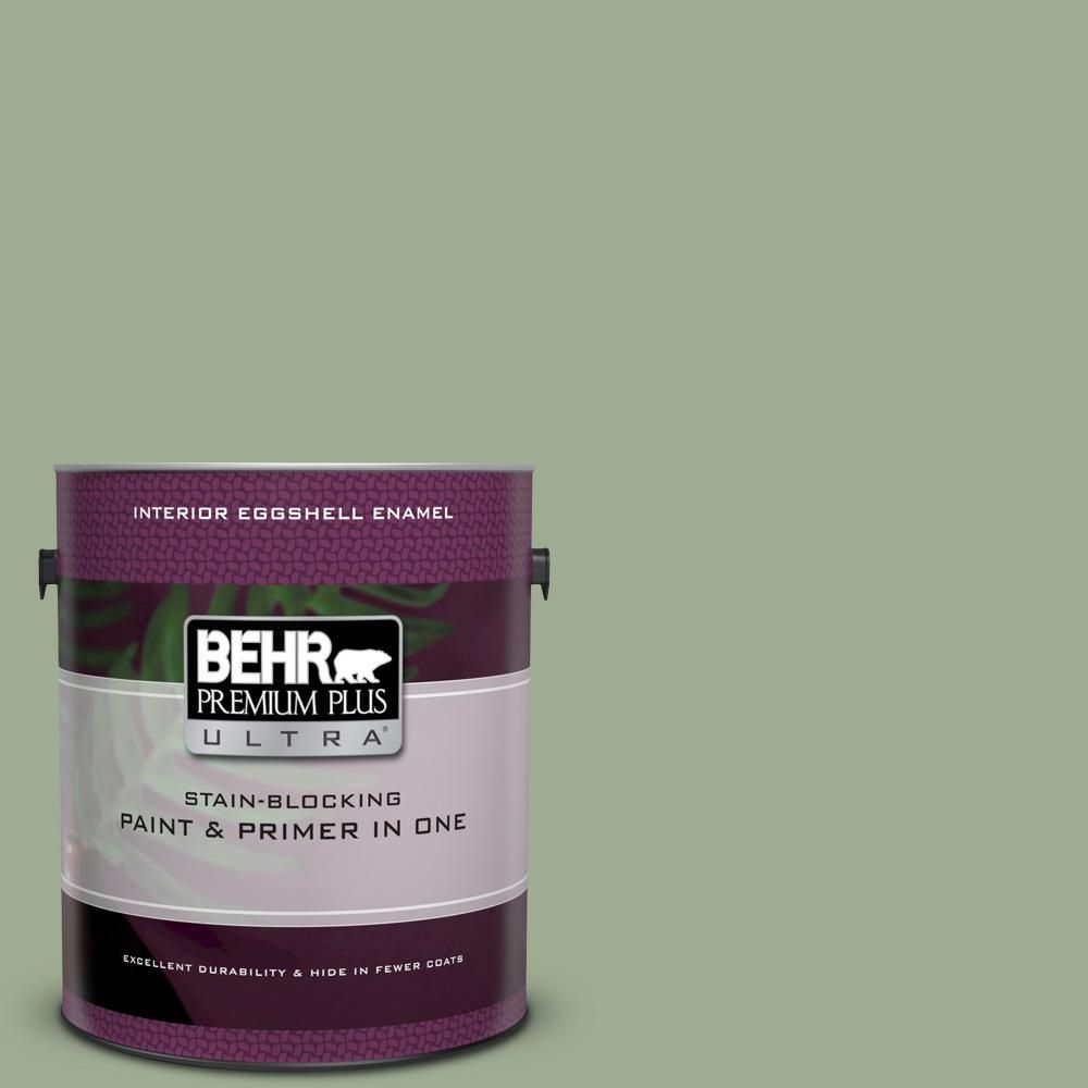 Behr Premium Plus Ultra 1 Gal S390 4 Roof Top Garden Eggshell Enamel Interior Paint And Primer In One Behr Interior Paint Paint Primer