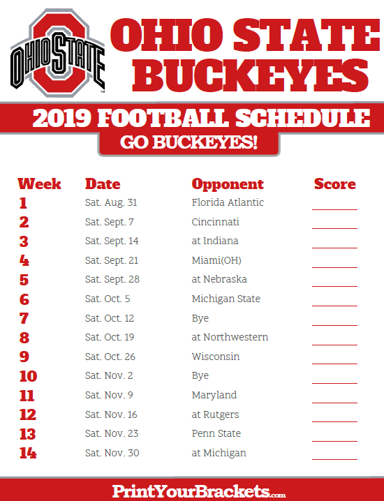 Ohio State Football Schedule 2019 2019 Ohio State Buckeyes Football Schedule | Printable College