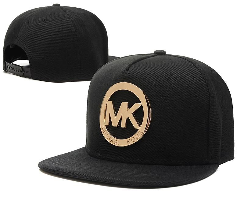 663f53233e40a Men s Michael Kors Fashion Trend Gold Metal MK Logo Baseball Snapback Hat -  Black