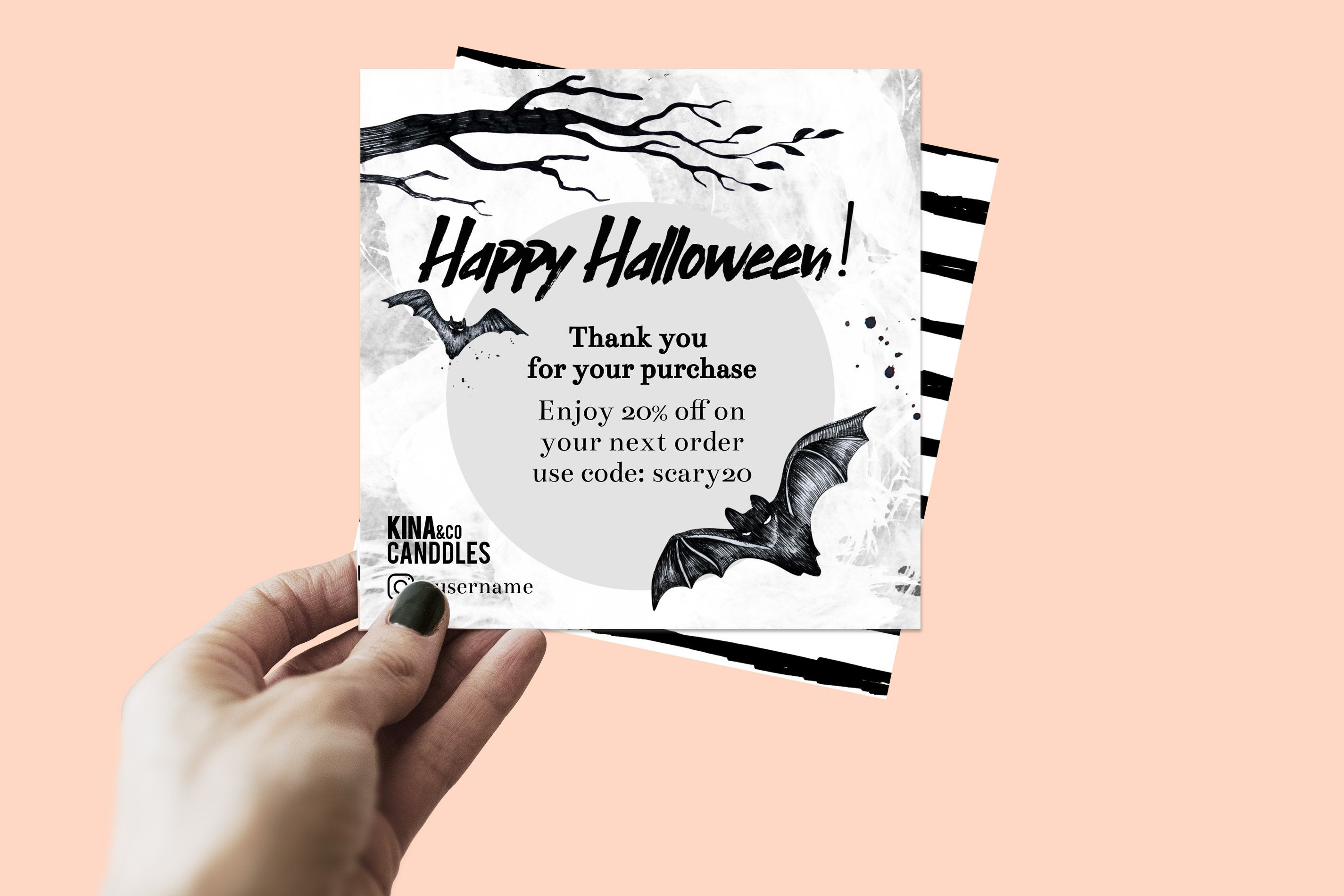 Square Printable Halloween Thank You Card Text Editable Etsy Square Printables Halloween Printables Thank You Card Size