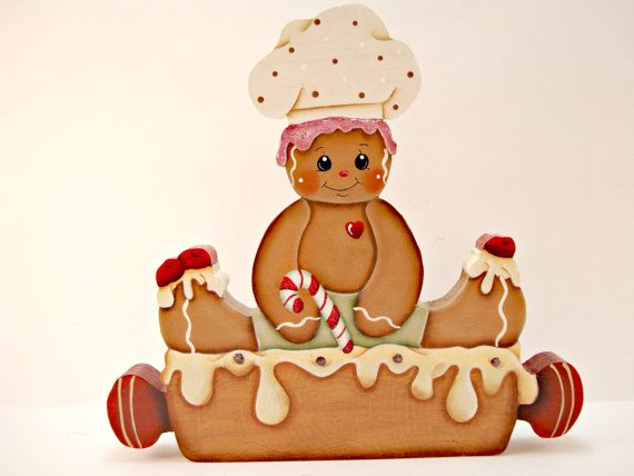 Gingerbread Pastry Chef Shelf Sitter  Ready to by ByBrendasHand
