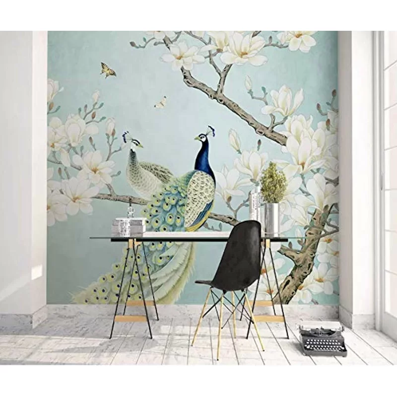 Chinese Peacock Magnolia Textile Wallpaper Wall Painting Living Room Chinoiserie Wallpaper Mural Wallpaper