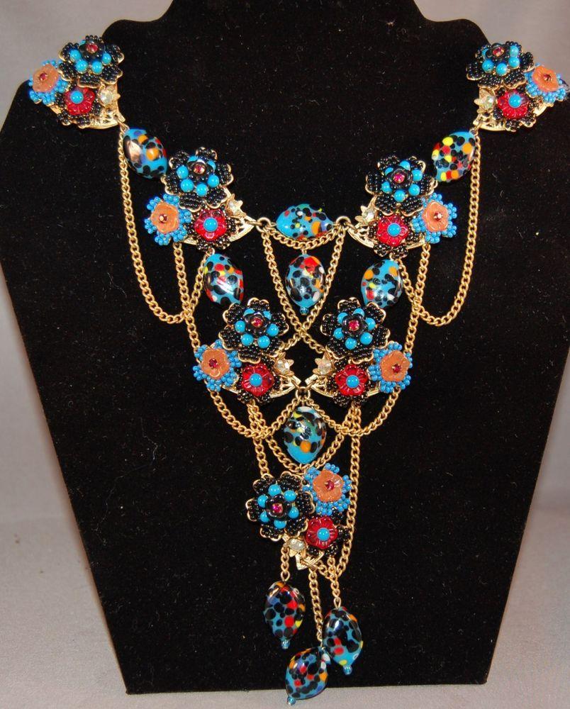 SUMPTOUS Stanley Hagler Swag Harlequin Bead Seed Bead Wearable Art Bib Necklace! #StanleyHagler