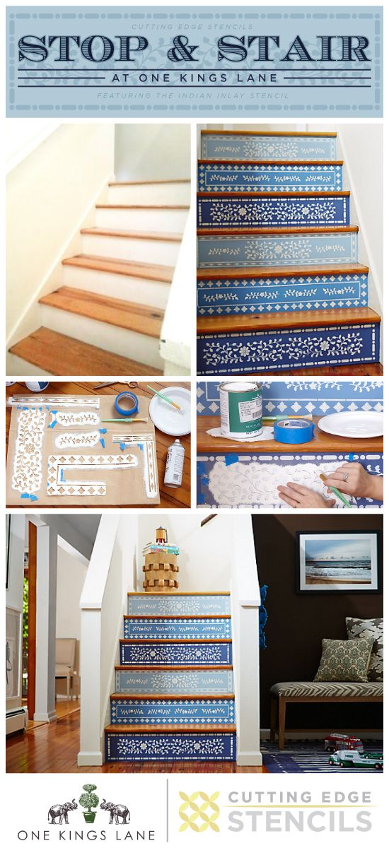Indian Inlay Stencil Stenciled Stair Risers Blue One