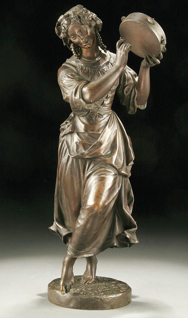 FRENCH SCHOOL (19th century) A Bacchanal Dancer-circa 1850 Bronze with brown patina Unsigned Height 16.25 inches. Auction Price Realized: $1,298.00