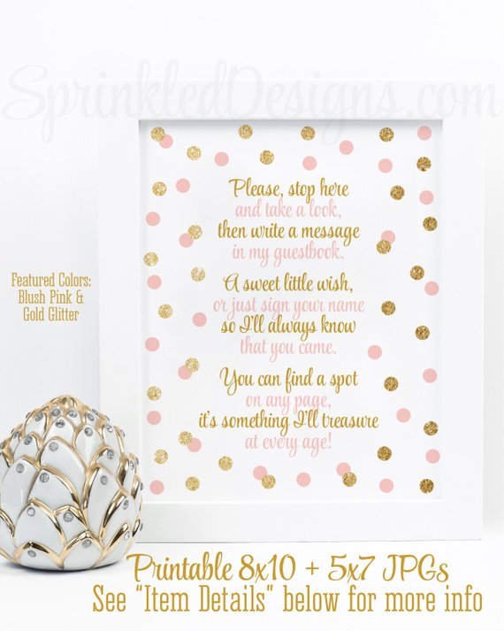 Baby Shower Guest Book Sign Blush Pink Gold Glitter Party 8x10 And