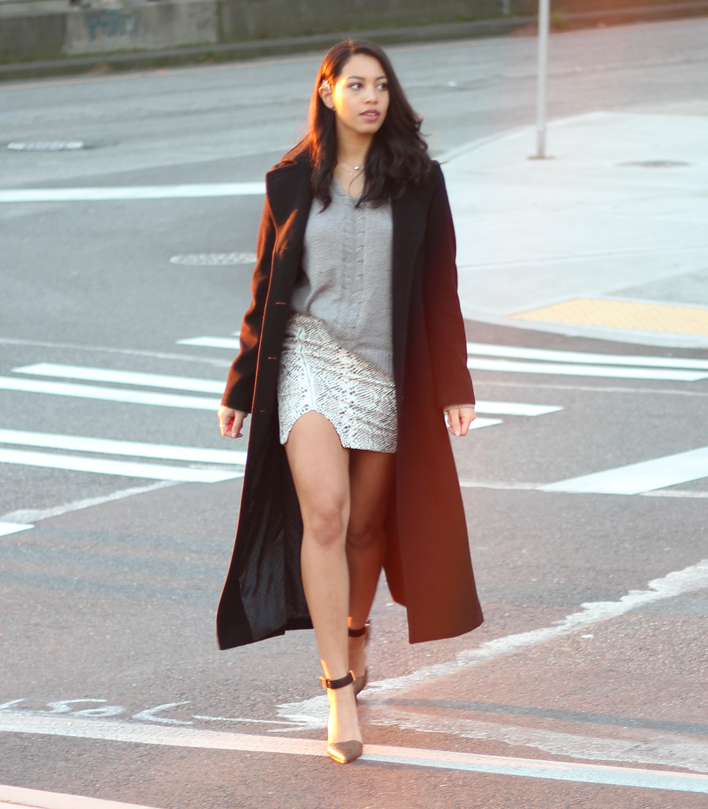 short skirt, long jacket | PRETTYSLICKCHICK.COM | Pinterest | Long ...