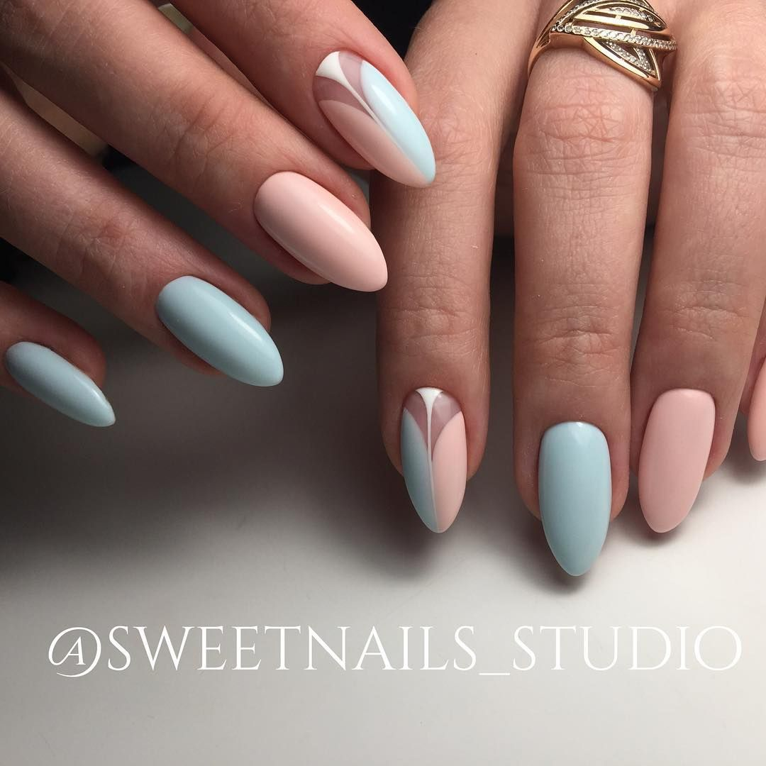 baby blue pastel pink nails w accent nail sweetnails