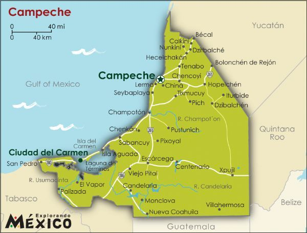 Campeche Mexico Maps Para Mapas De Estados Mexicanos Mapa De - Candelaria map