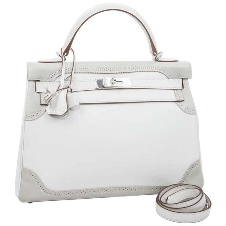 c3cedc77315c HERMES Kelly 32 Ghillies Bicolor Swift White and Pearl Gray Leather
