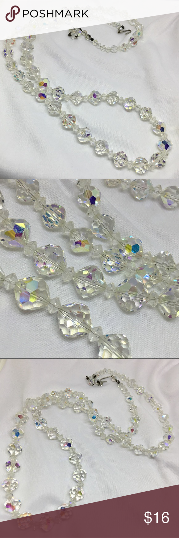 """🆕Vintage 32"""" Aurora Borealis Crystal Necklace This is an adjustable to 32"""" Aurora Borealis Crystal necklace, all crystals in amazing condition. Each is spaced with a smaller spacer crystal, and this necuklace is just a classic. Can be worn doubled because of the clasp. A long strand of crystal beauties! Vintage Jewelry Necklaces"""
