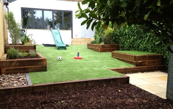Family Garden In Brighton Sussex With A Large Area Of Artificial Grass For Low Maintena Backyard Landscaping Designs Small Garden Design Backyard Landscaping