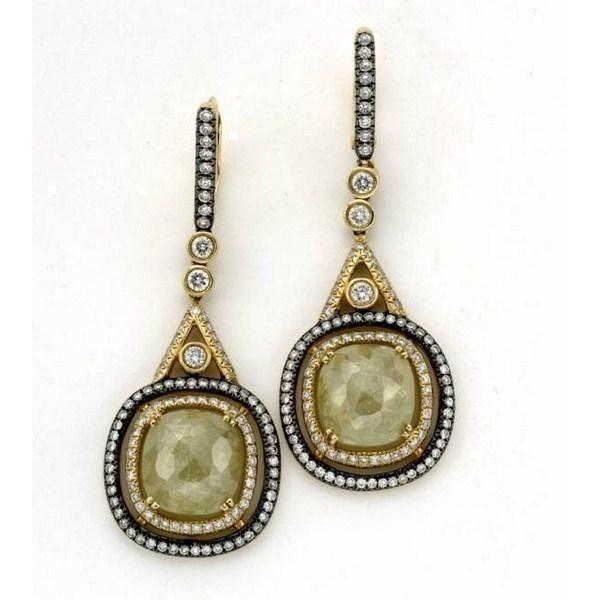 18k Yellow Gold Natural Rough Yellow Diamond Earrings Minoo Collection