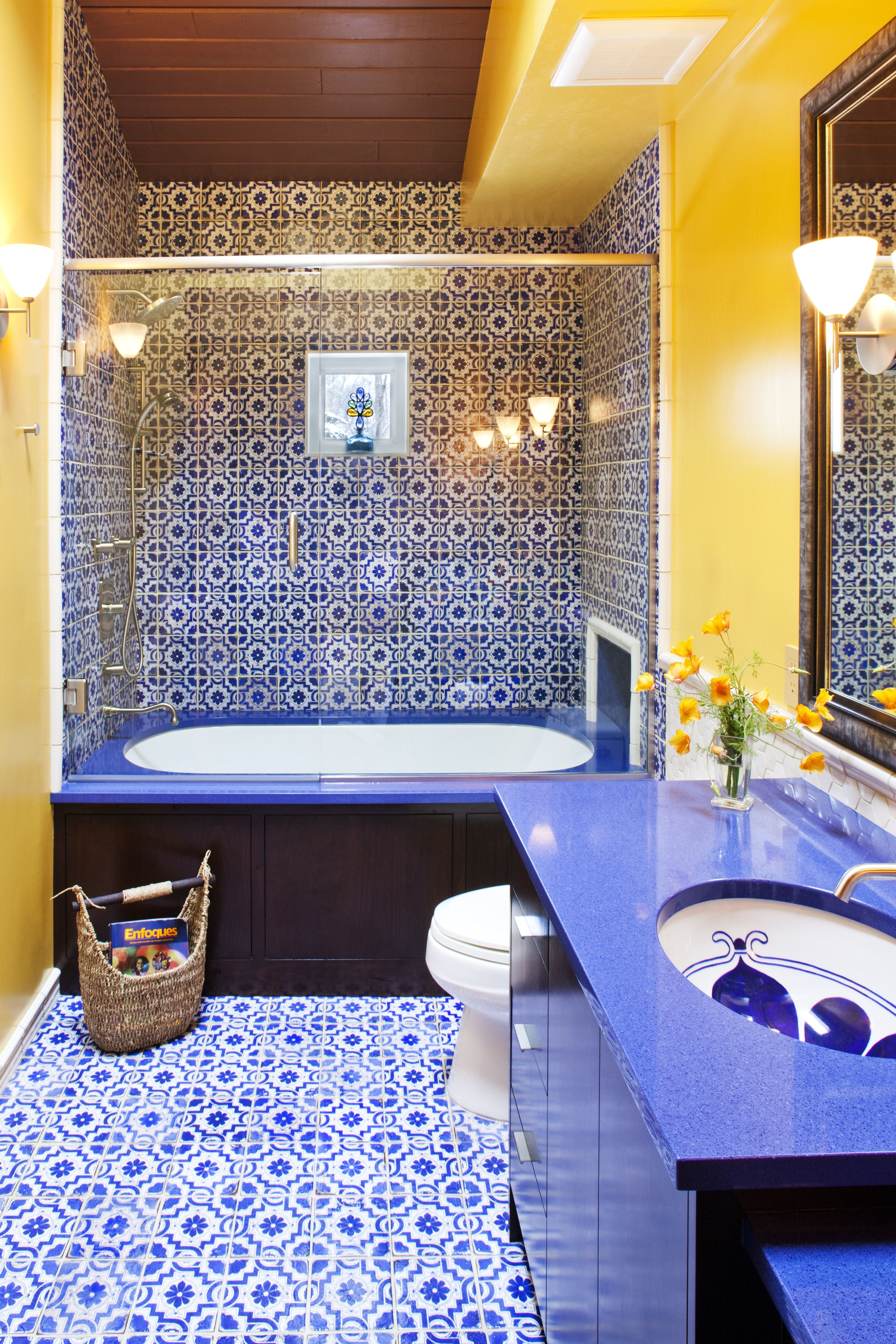 Blue And Yellow Moroccan Inspired Guest Bathroom Yellow Bathroom