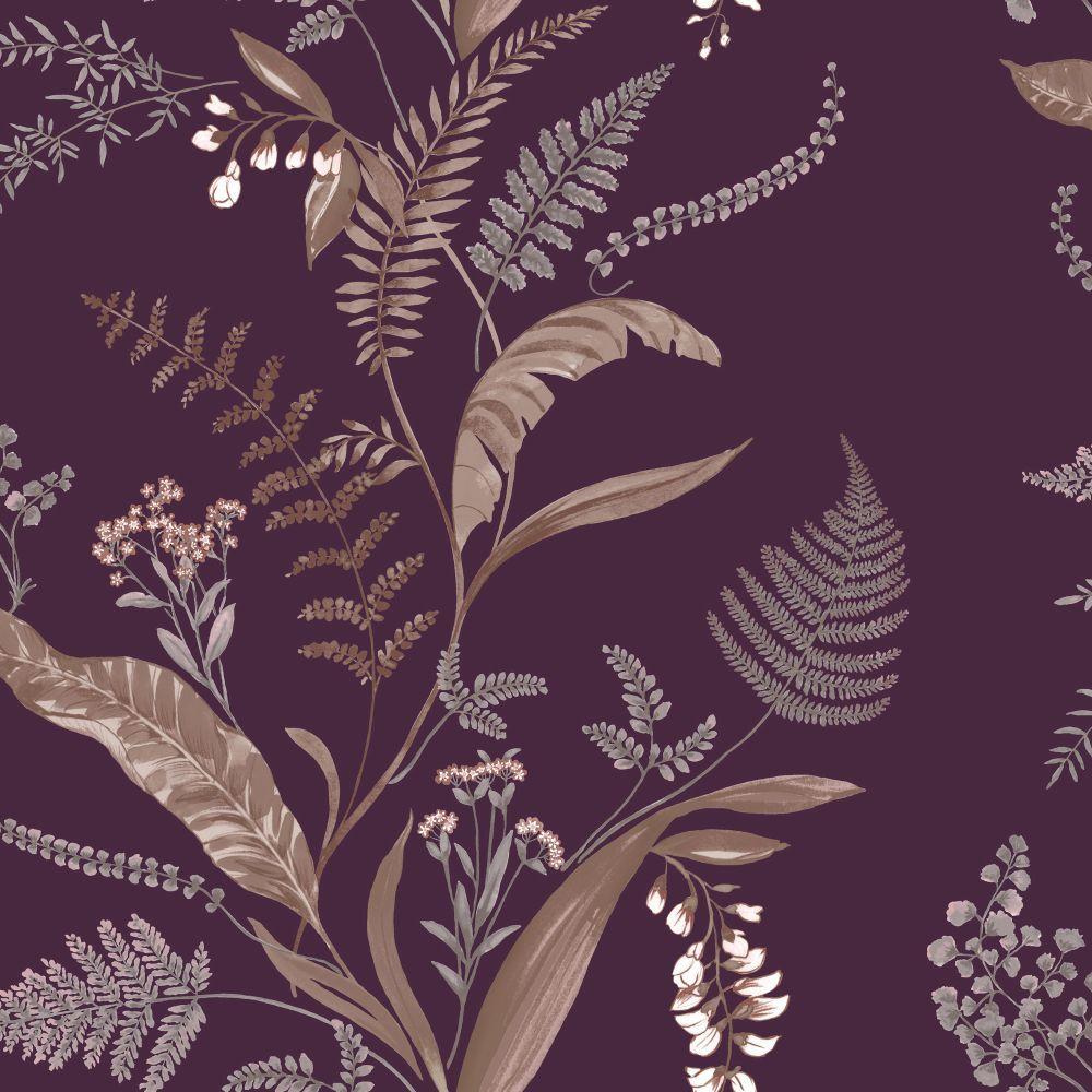 Home diy wallpaper illustration arthouse imagine fern plum motif vinyl - Cembra Plum Wallpaper By Albany