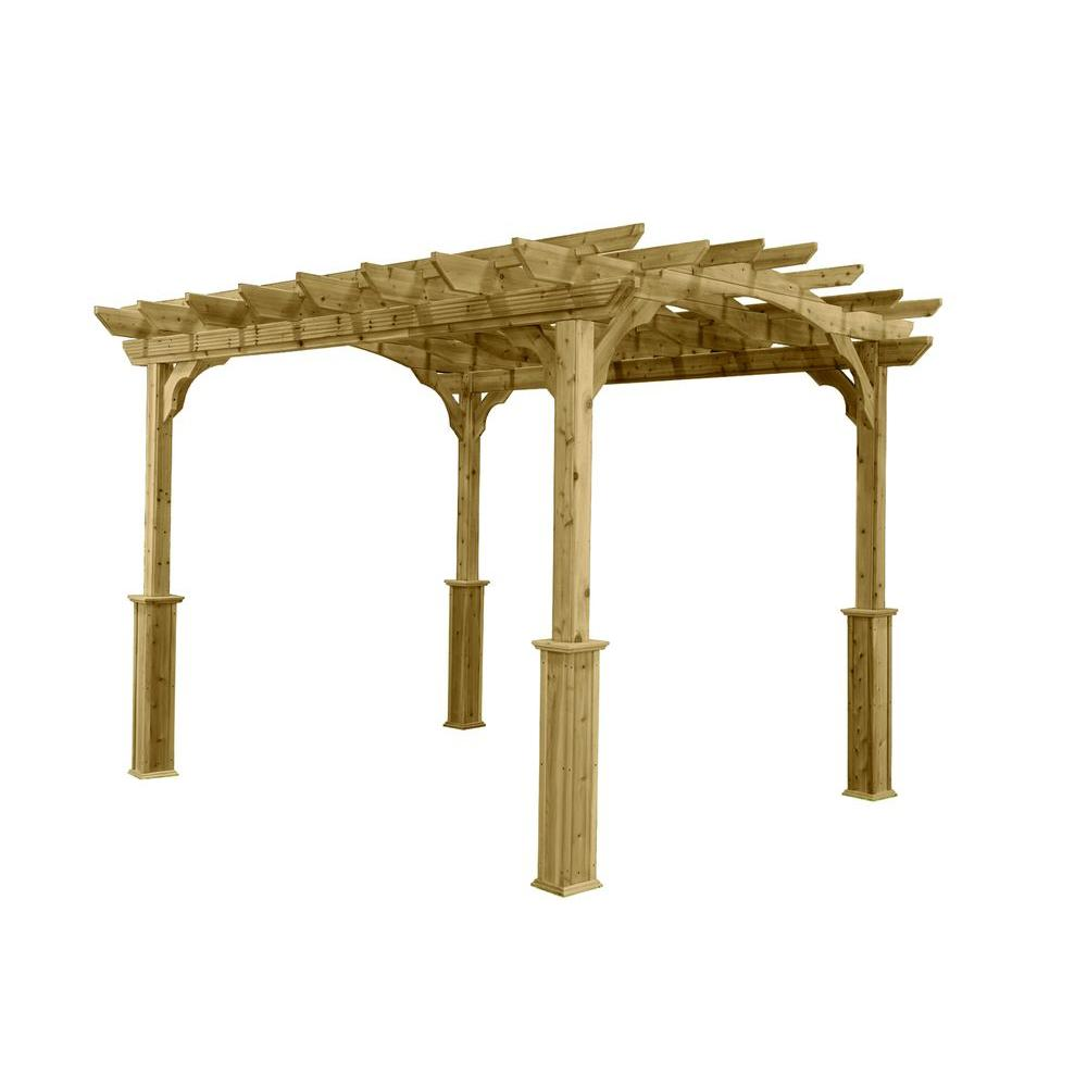 10 Ft X 12 Ft Wood Pergola Pa1012 The Home Depot Wood Pergola Outdoor Pergola Pergola