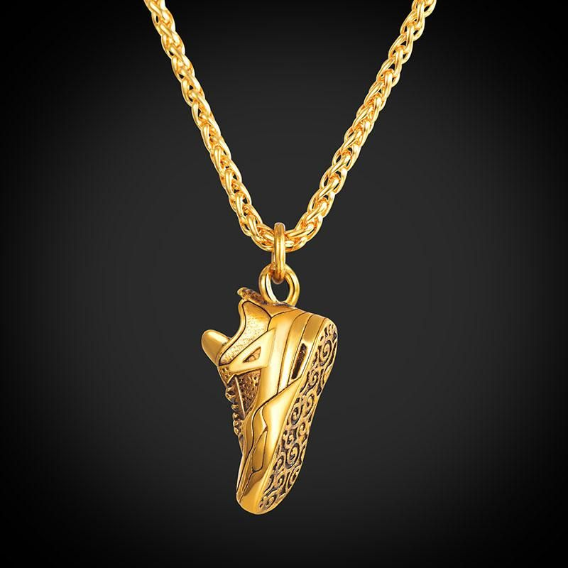 Running Shoe Pendant Necklace Stainless Steel 18k Gold Plated Sport Jewelry For Men Shoe Pendant Mens Jewelry Gold Chain Jewelry