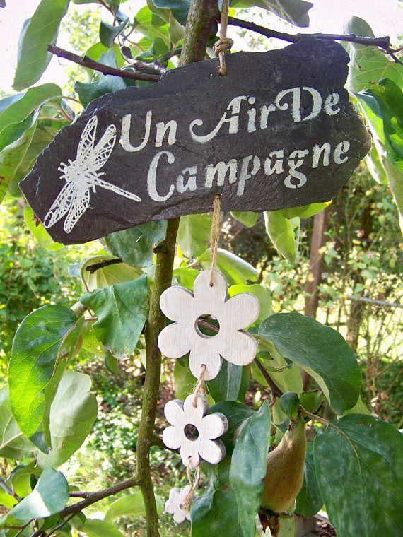 """Ardoise décorative brute- Décoration de jardin- Tuile-Panneau-Pancarte-Un air de campagne"""",Création Troglodyte"""