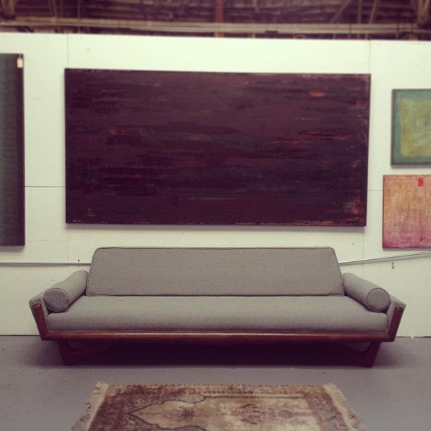7 MidCentury Modern Brands To Find At Estate Sales   Adrian Pearson Low  Gondola Sofa With