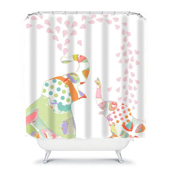 kids shower curtainelephant shower by OzscapeHomeDecor on Etsy ...