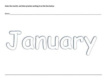 These worksheets feature the twelve months of the year.  Students will write their name, color the month and then practice writing the month at the bottom of the page. This is perfect for K4 and K5 / Kindergarten classrooms, even some 1st graders will benefit from this activity.