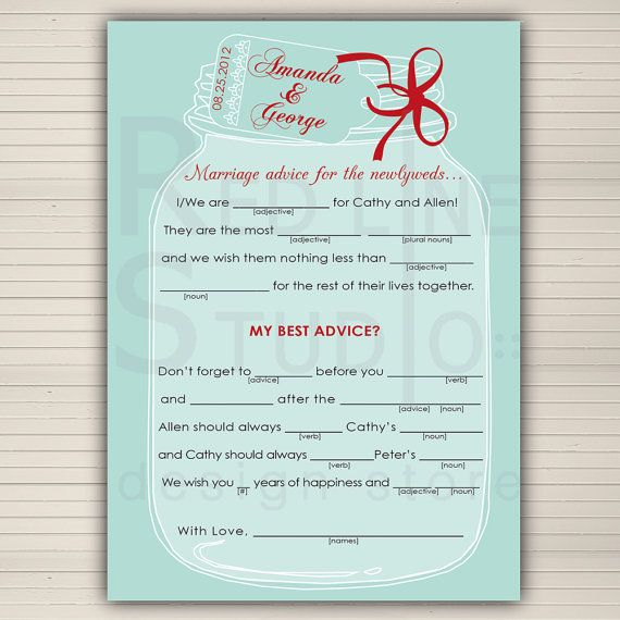 Wedding Vow Mad Libs Printable: Wedding Mad Lib Printable Mason Jar Wedding Themed By