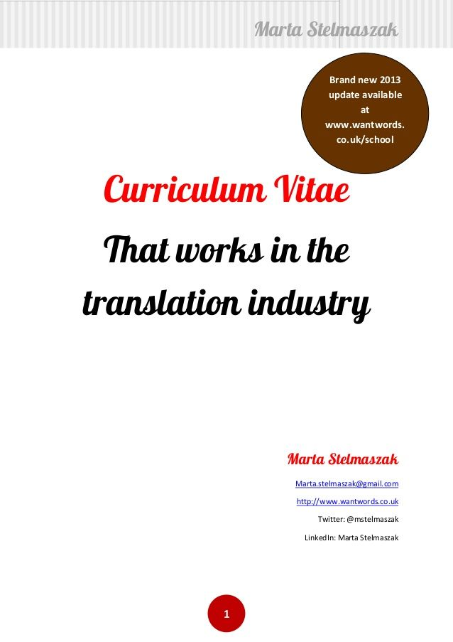 How to write a translator\u0027s cv inspiration Pinterest