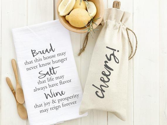 Housewarming Gift Set, Cheers Wine Tote and Bread Salt Wine ...