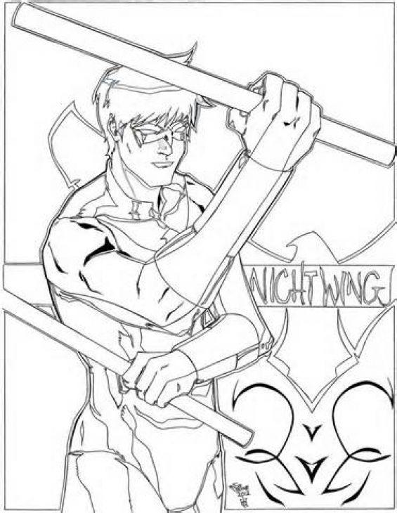 Nightwing Kids Coloring Sheet Free Printable | Superheroes Coloring ...