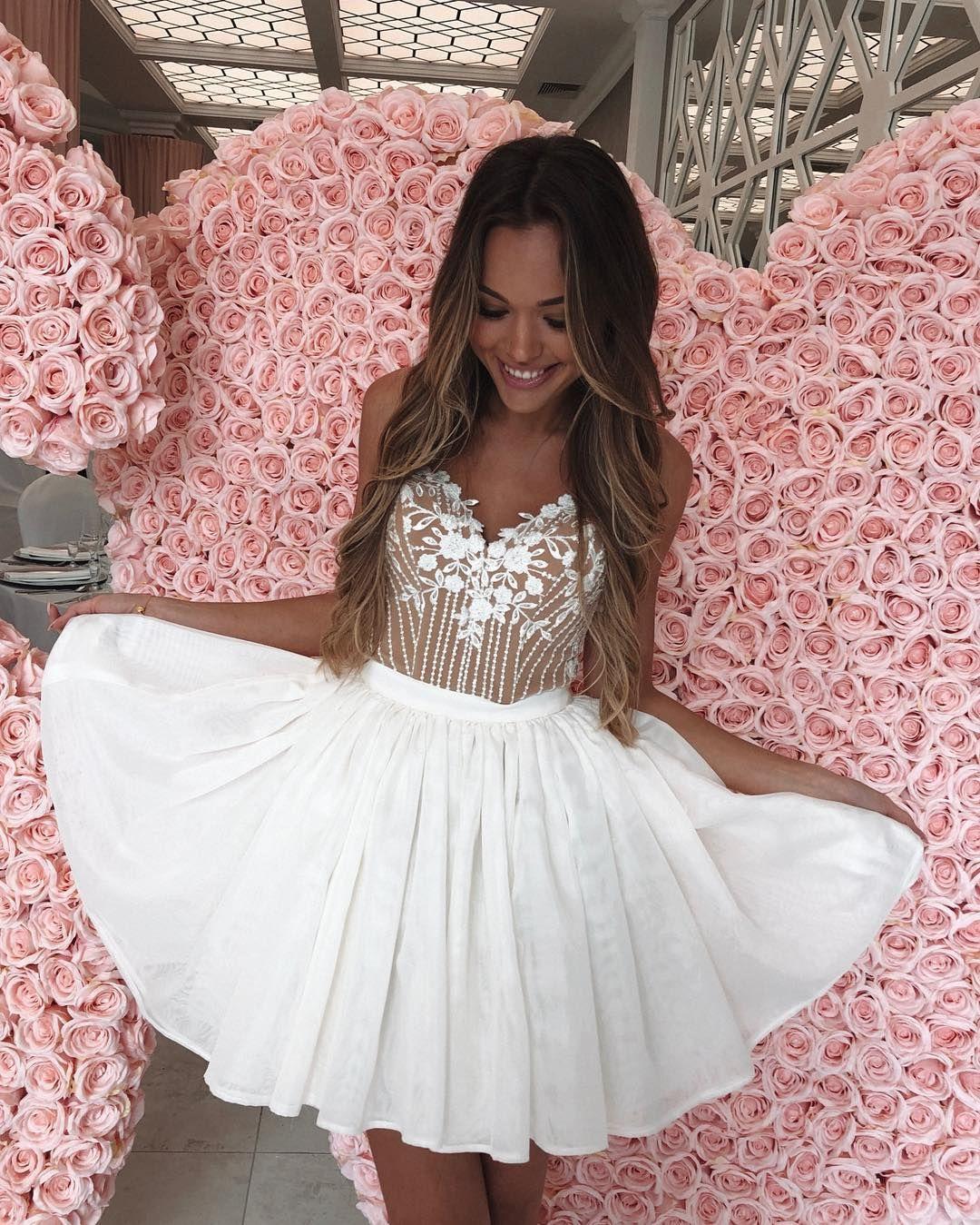 Aline spaghetti straps white satin homecoming dress with appliques