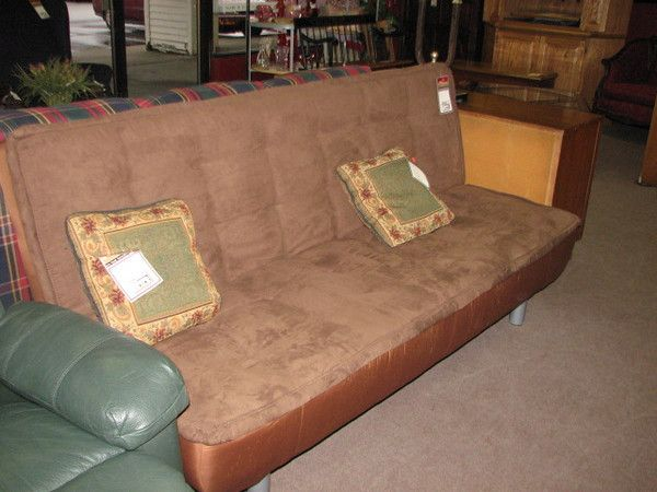 Best Upholstered Brown Suede Futon 180 Available In Store 400 x 300